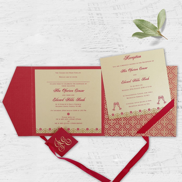 HOT PINK SHIMMERY SCREEN PRINTED WEDDING INVITATION SO-805A