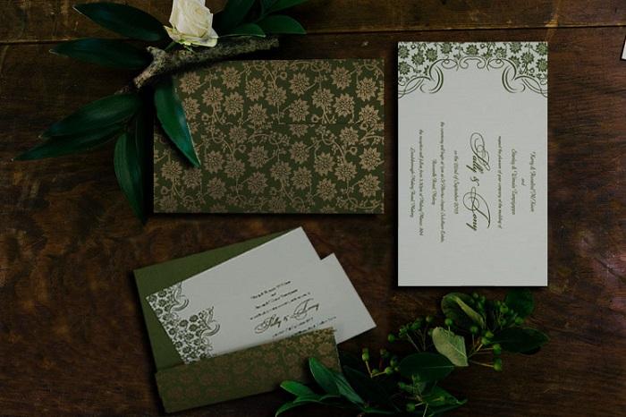 GREEN MATTE FLORAL WEDDING INVITATION CARD D-810D