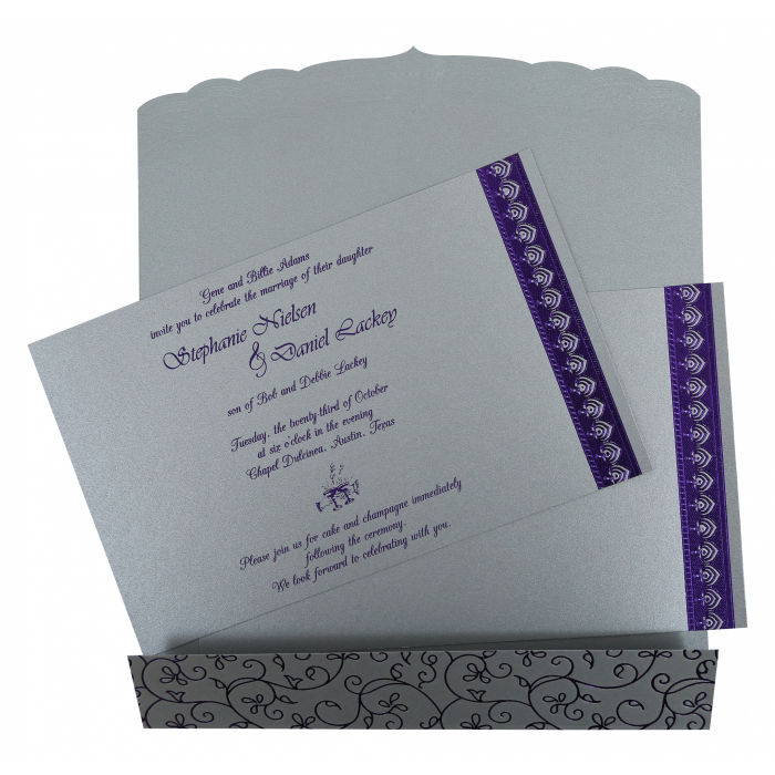 SILVER SHIMMERY FOIL STAMPED WEDDING INVITATION CARD D-806A