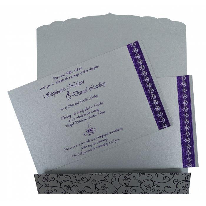 SILVER SHIMMERY FOIL STAMPEDWEDDING INVITATION CARD D-806A
