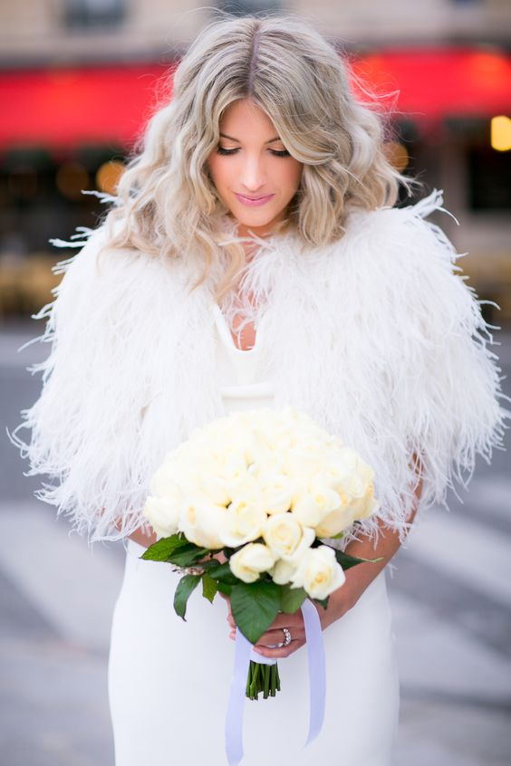 Feather in wedding dress