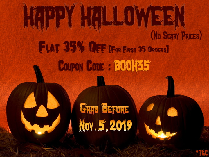 Halloween Sale 2019, 35% Off on Wedding Cards by 123WeddingCards