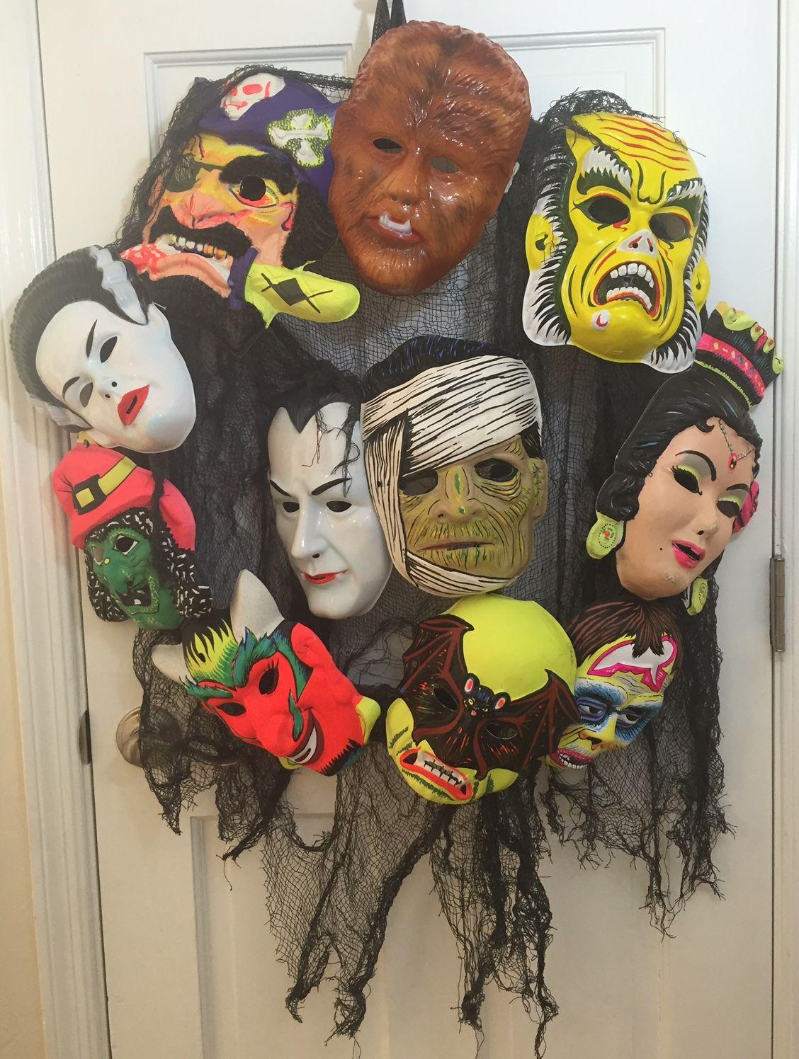 wreath of halloween mask