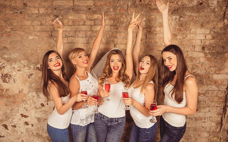 cheerful wine hen party