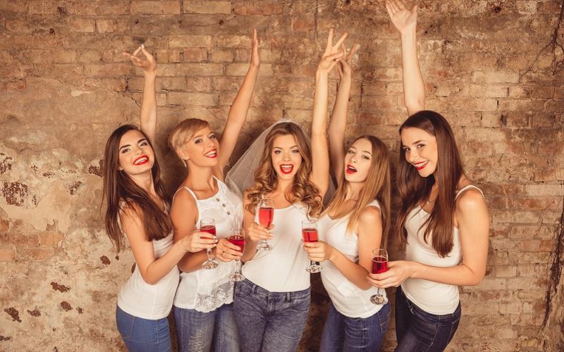 cheerful wine hen party