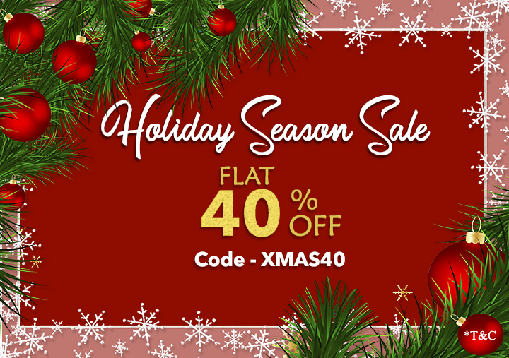 Holiday(Christmas + New Year) Season Sale 2019-2020 by 123WeddingCards Flat 40% Off