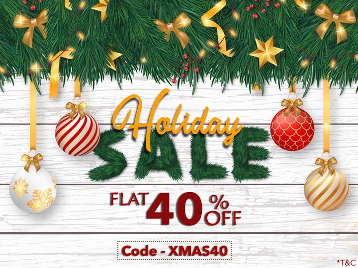 Holiday(Christmas + New Year) Season Sale 2019-2020 by 123WeddingCards Flat 40% Off