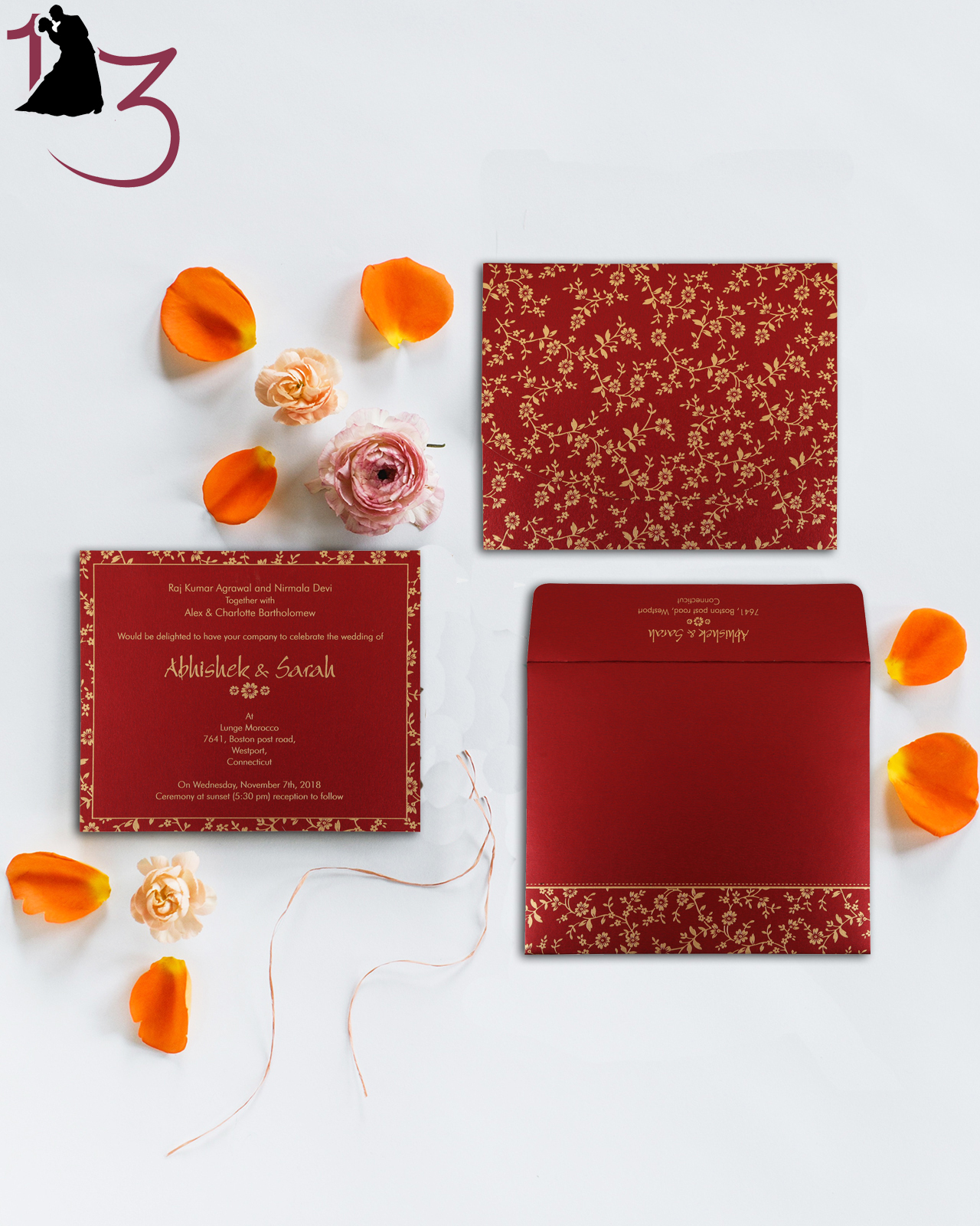 Bring holiday magic with red & white invitations