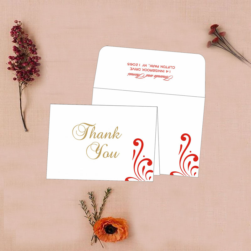 White Color Thank You Card for Weddings TYC-8223C from 123WeddingCards