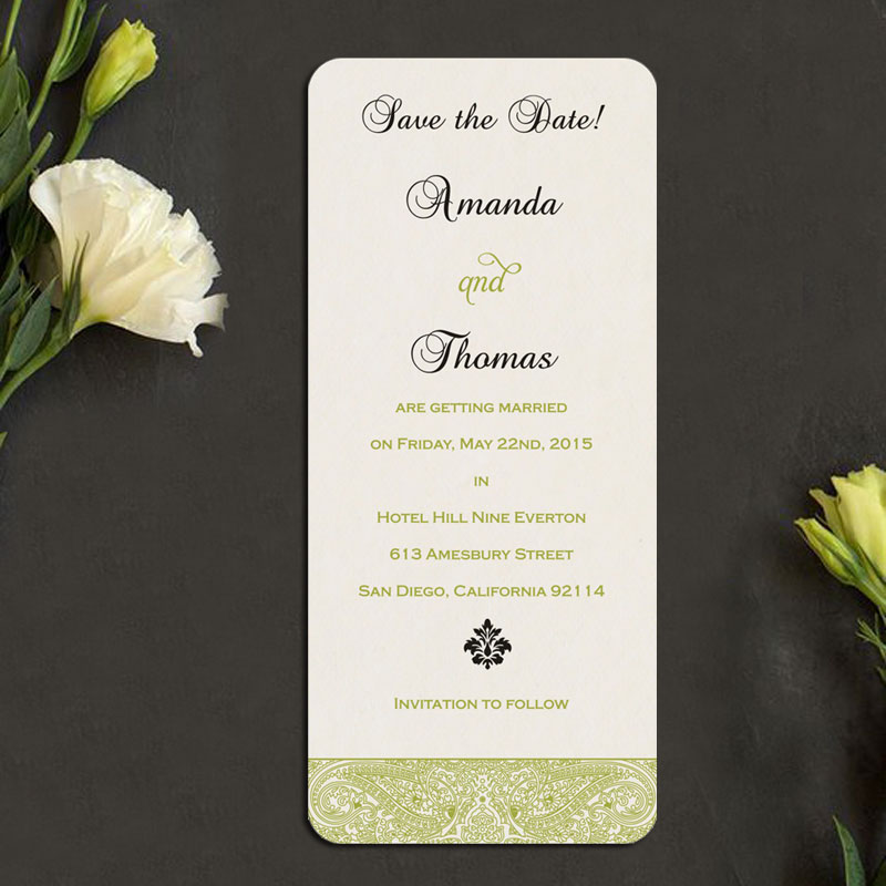 White Color Wedding Save The Date Card STD-8234H by 123WeddingCards