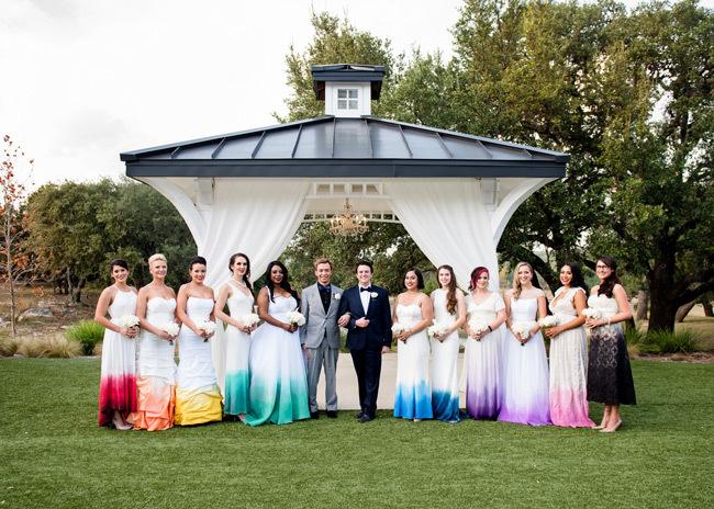 Dip-dyed dresses For LGBT Pride Wedding