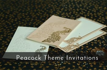 Peacock Theme Wedding Cards