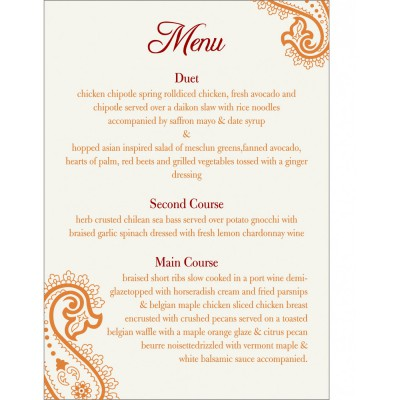 Menu Cards 5501 - 123WeddingCards