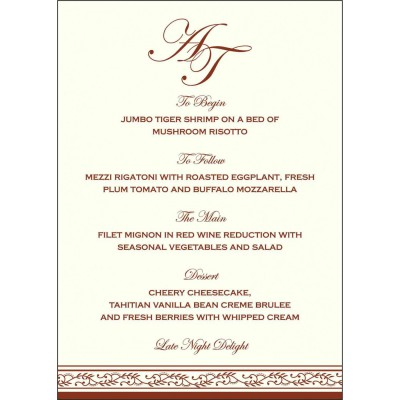 Menu Cards MENU-8202A - 123WeddingCards