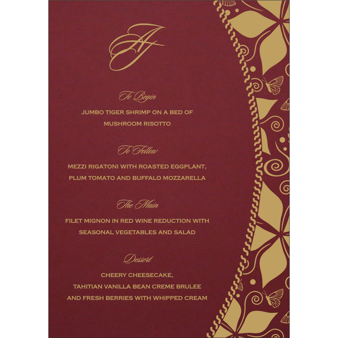 Menu Cards : MENU-1169 - 123WeddingCards