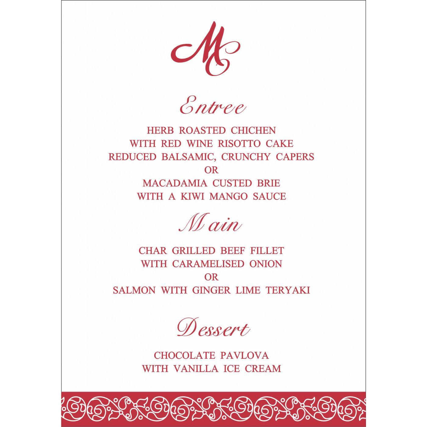 Menu Cards : MENU-1396 - 123WeddingCards