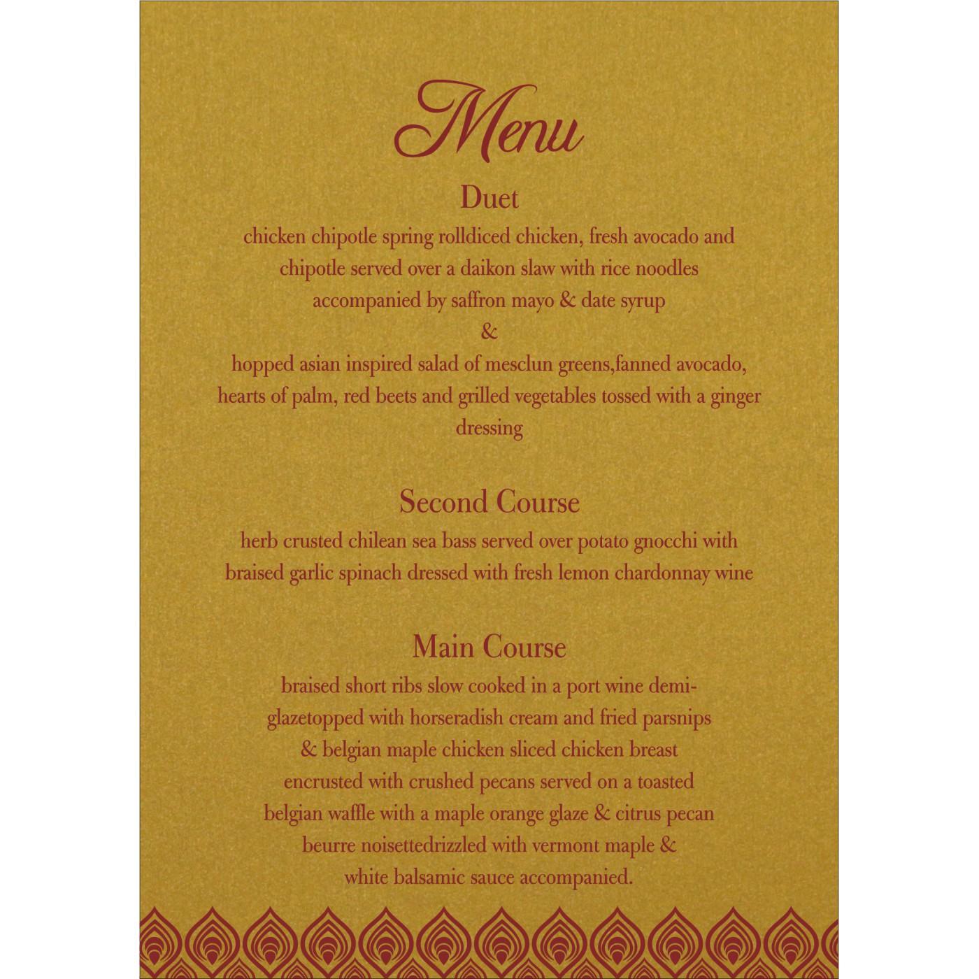 Menu Cards : MENU-1506 - 123WeddingCards