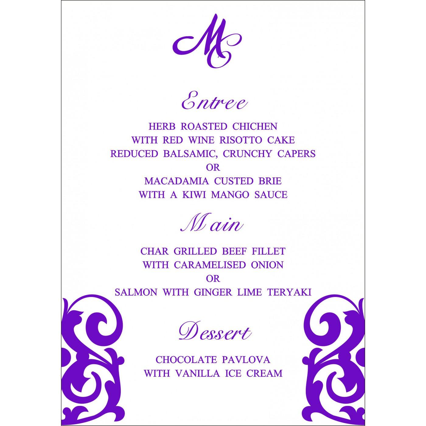 Menu Cards : MENU-2278 - 123WeddingCards