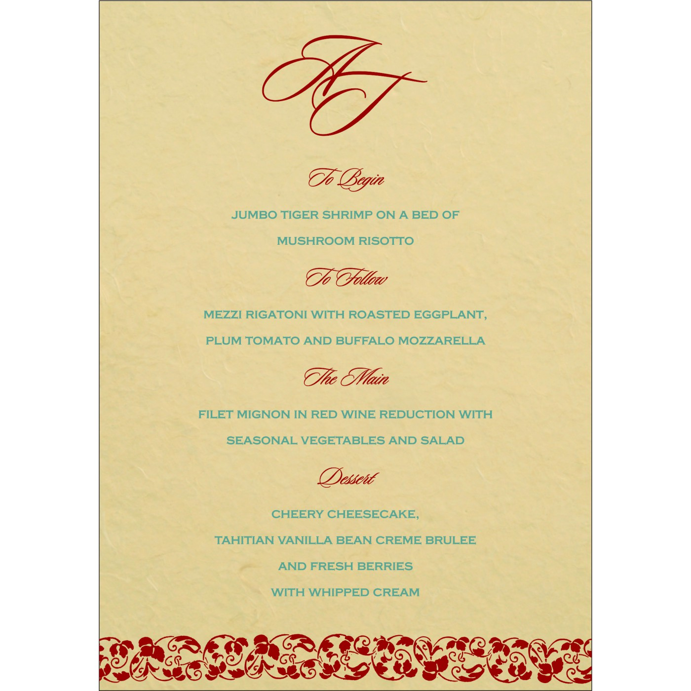 Menu Cards : MENU-5006G - 123WeddingCards