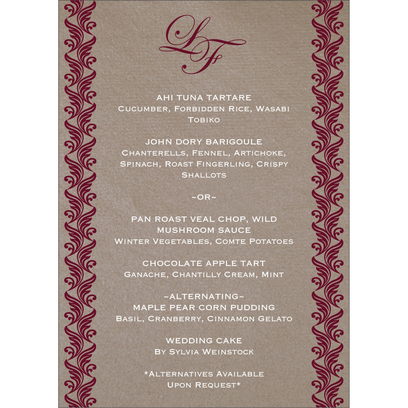 Menu Cards : MENU-5007A - 123WeddingCards