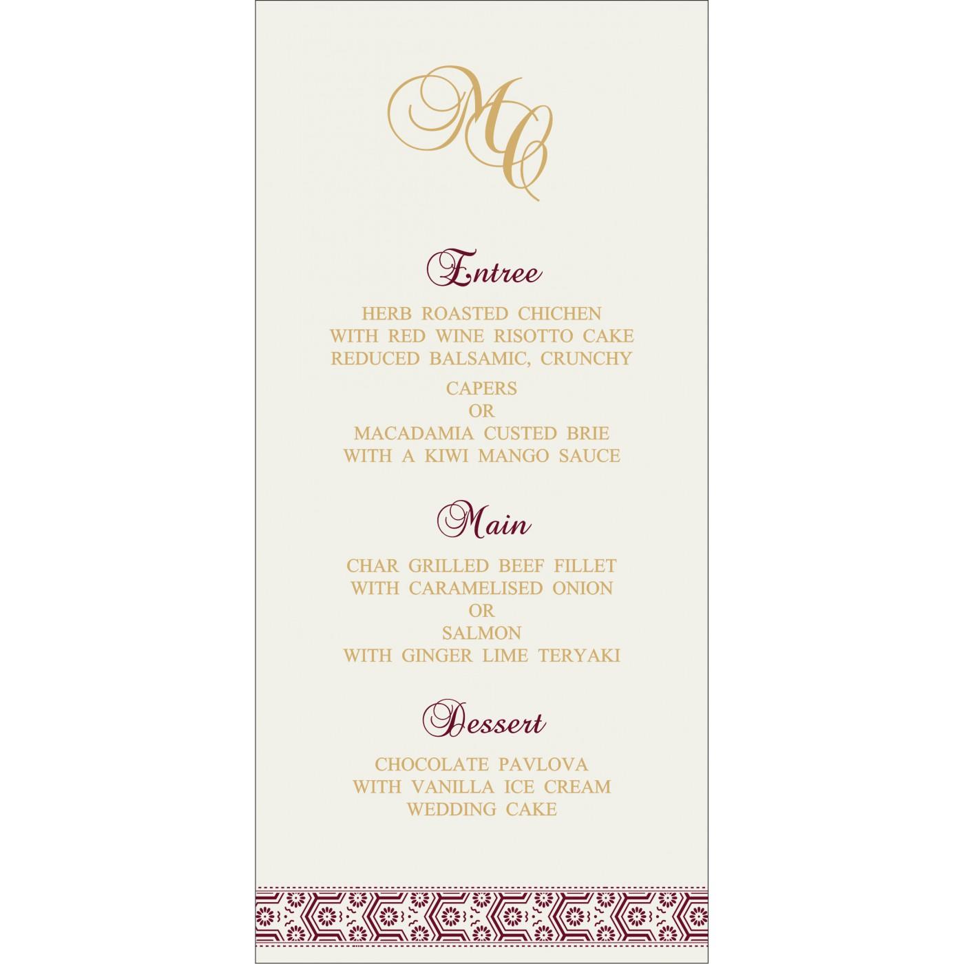 Menu Cards : MENU-5014J - 123WeddingCards