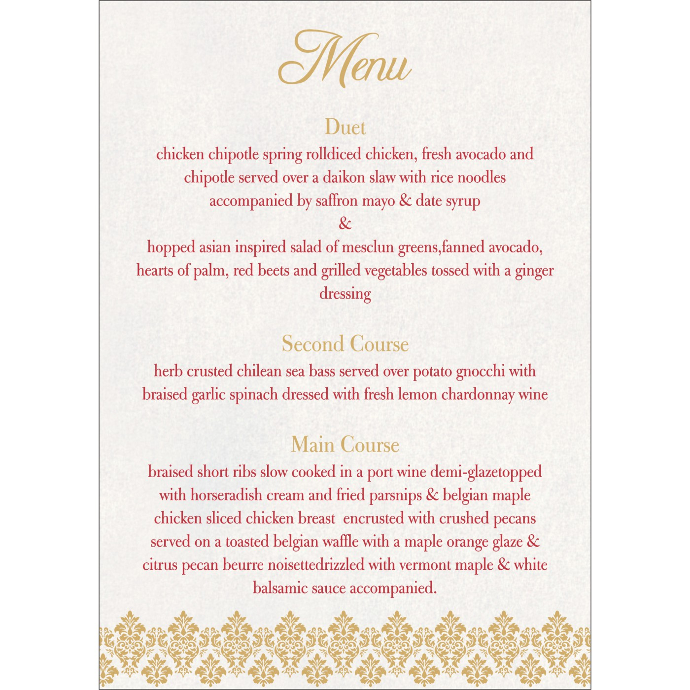 Menu Cards : MENU-5016D - 123WeddingCards