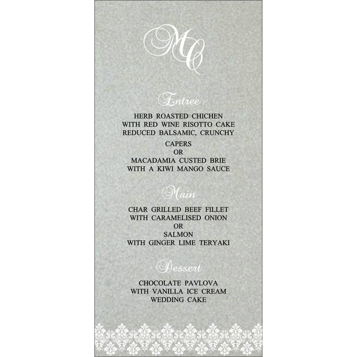 Menu Cards : MENU-5016E - 123WeddingCards