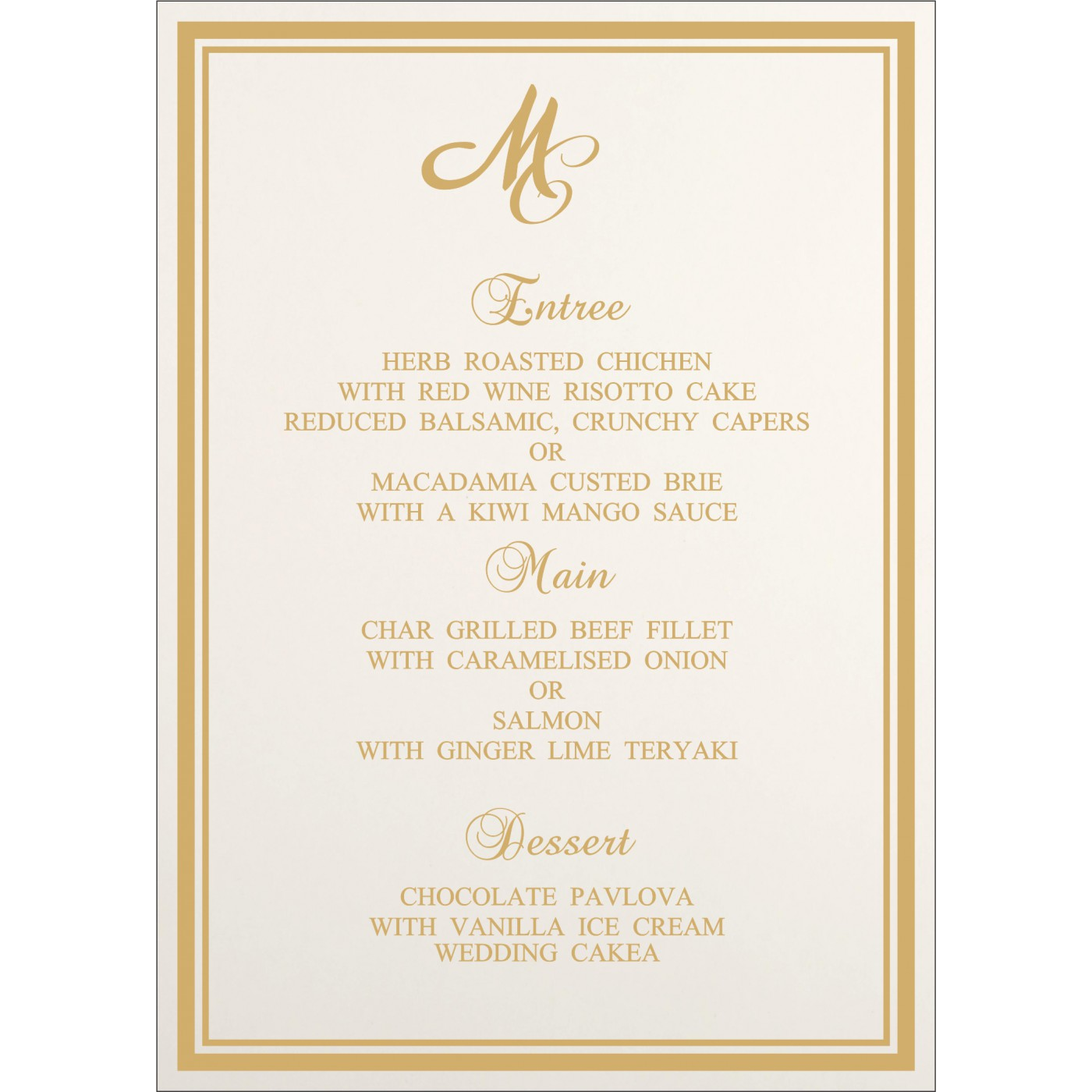 Menu Cards : MENU-8203K - 123WeddingCards