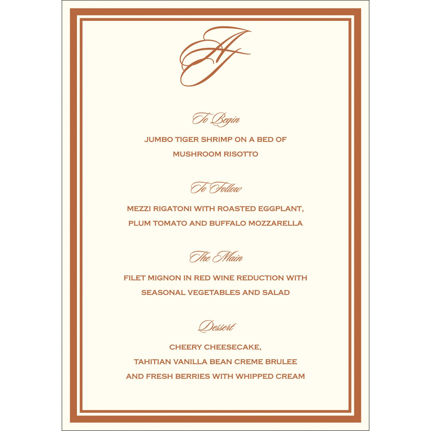 Menu Cards : MENU-8204A - 123WeddingCards