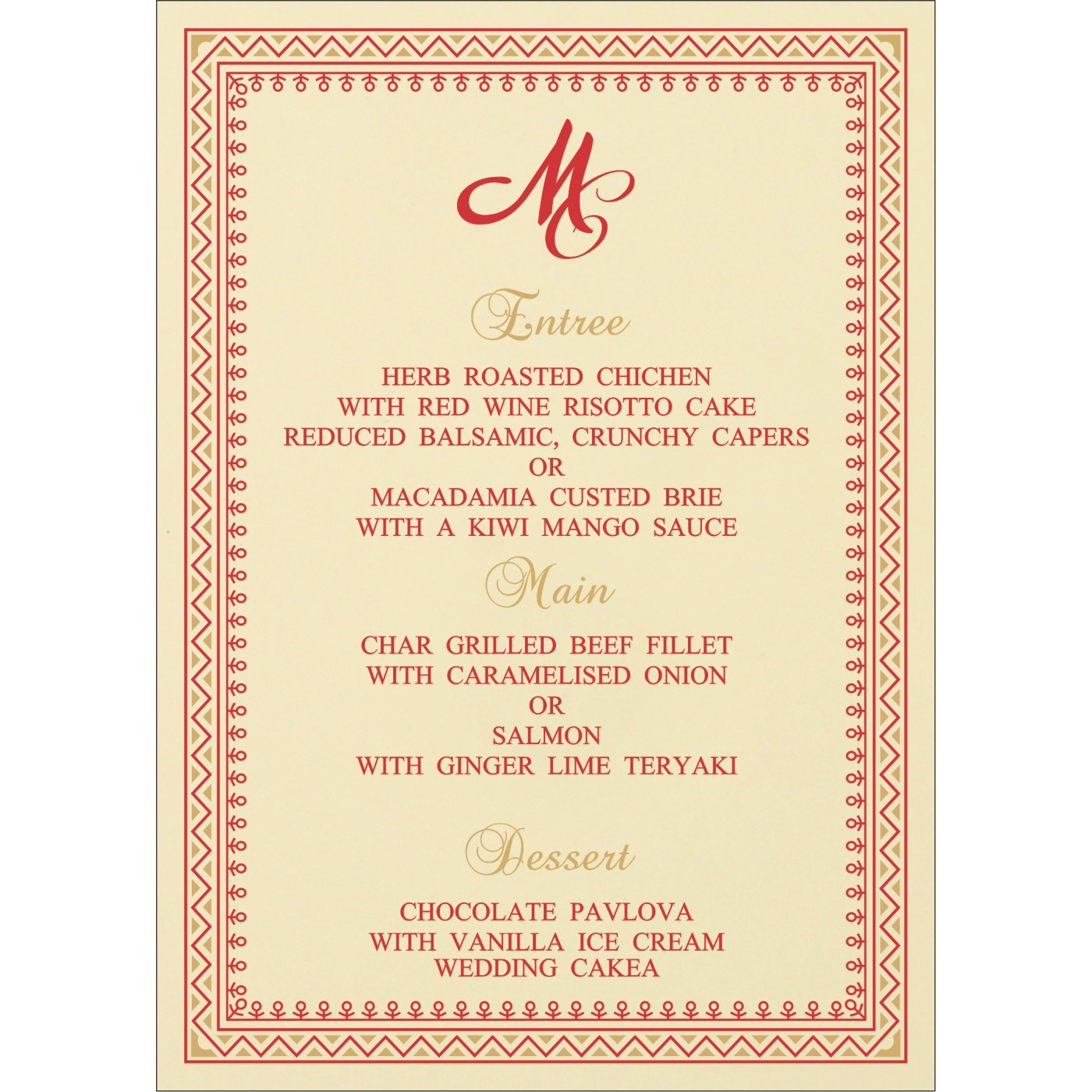 Menu Cards : MENU-8205R - 123WeddingCards
