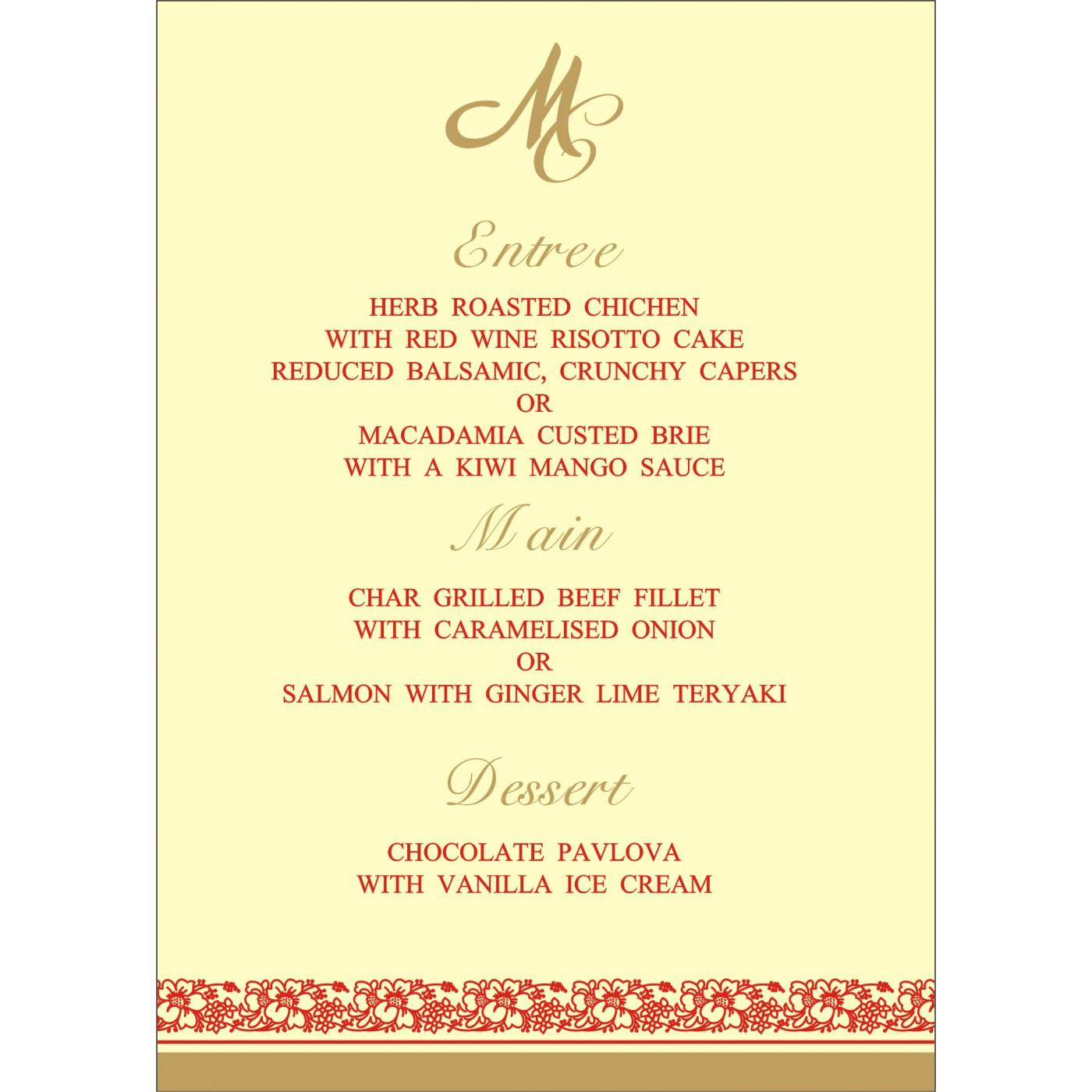 Menu Cards : MENU-8207J - 123WeddingCards