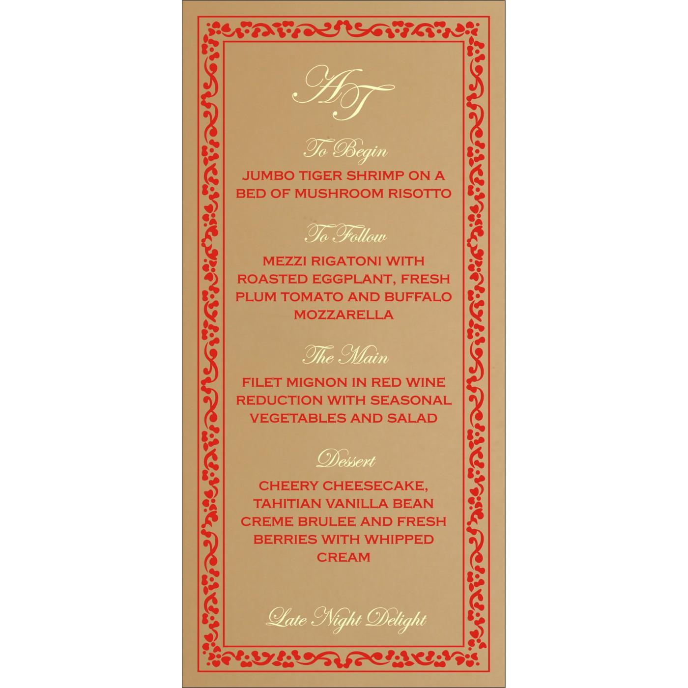 Menu Cards : MENU-8214G - 123WeddingCards