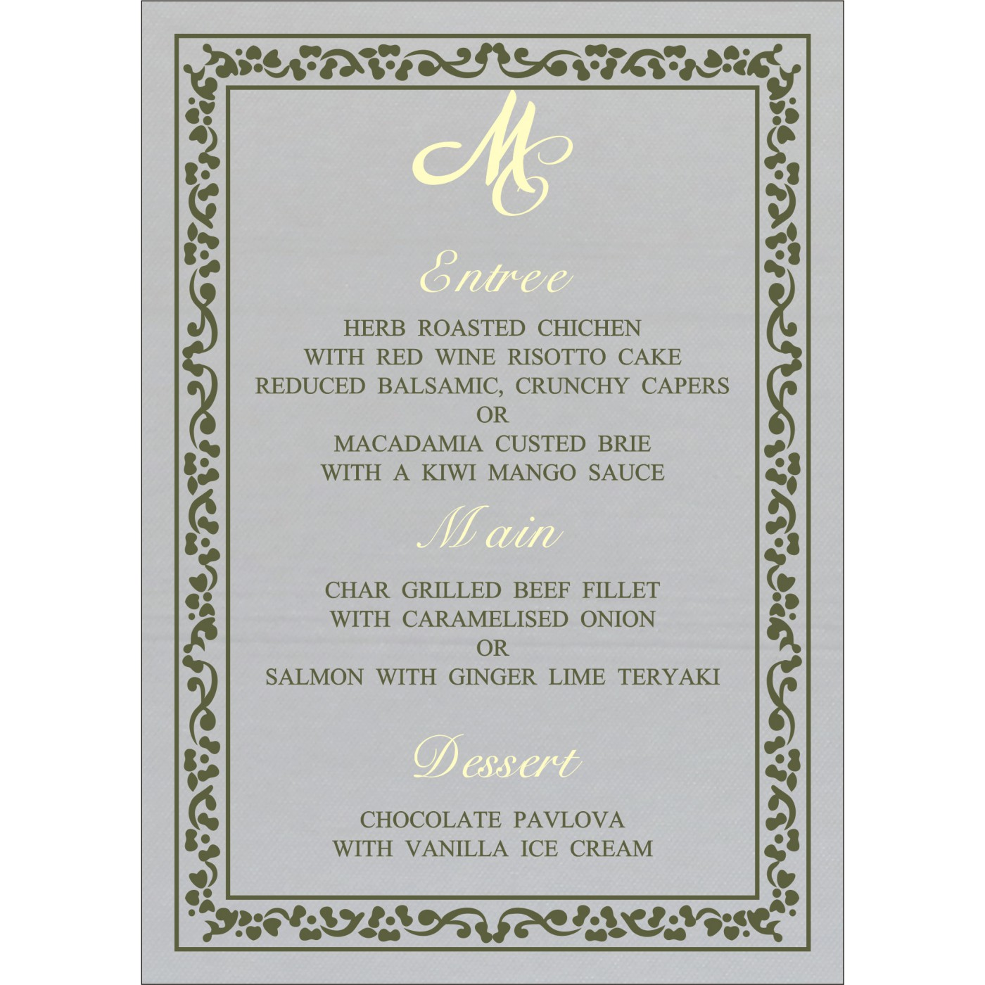 Menu Cards : MENU-8214L - 123WeddingCards