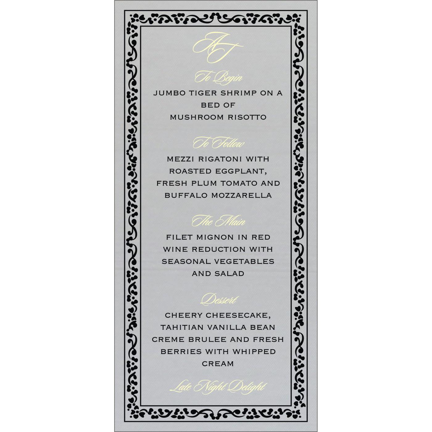 Menu Cards : MENU-8214N - 123WeddingCards