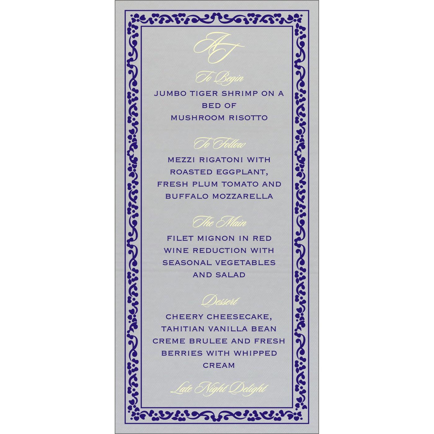 Menu Cards : MENU-8214Q - 123WeddingCards