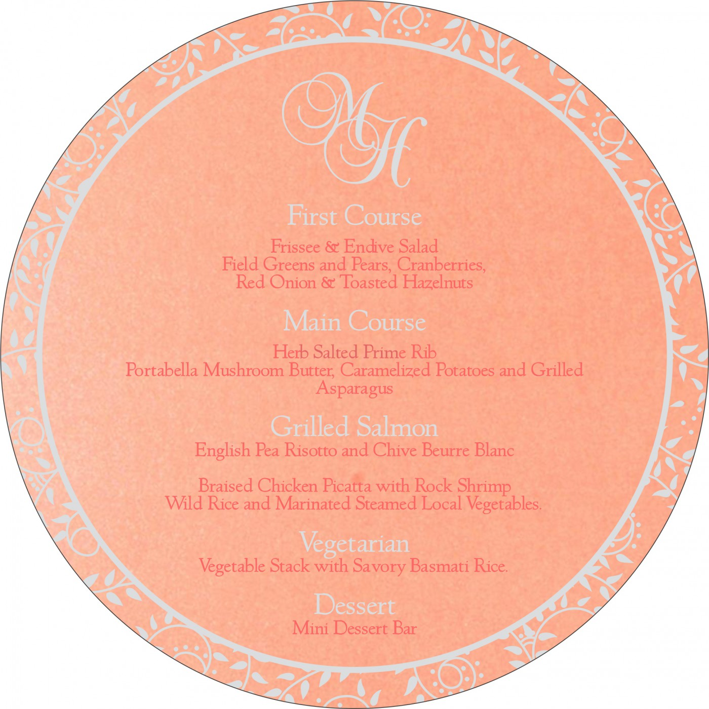 Menu Cards : MENU-8217E - 123WeddingCards