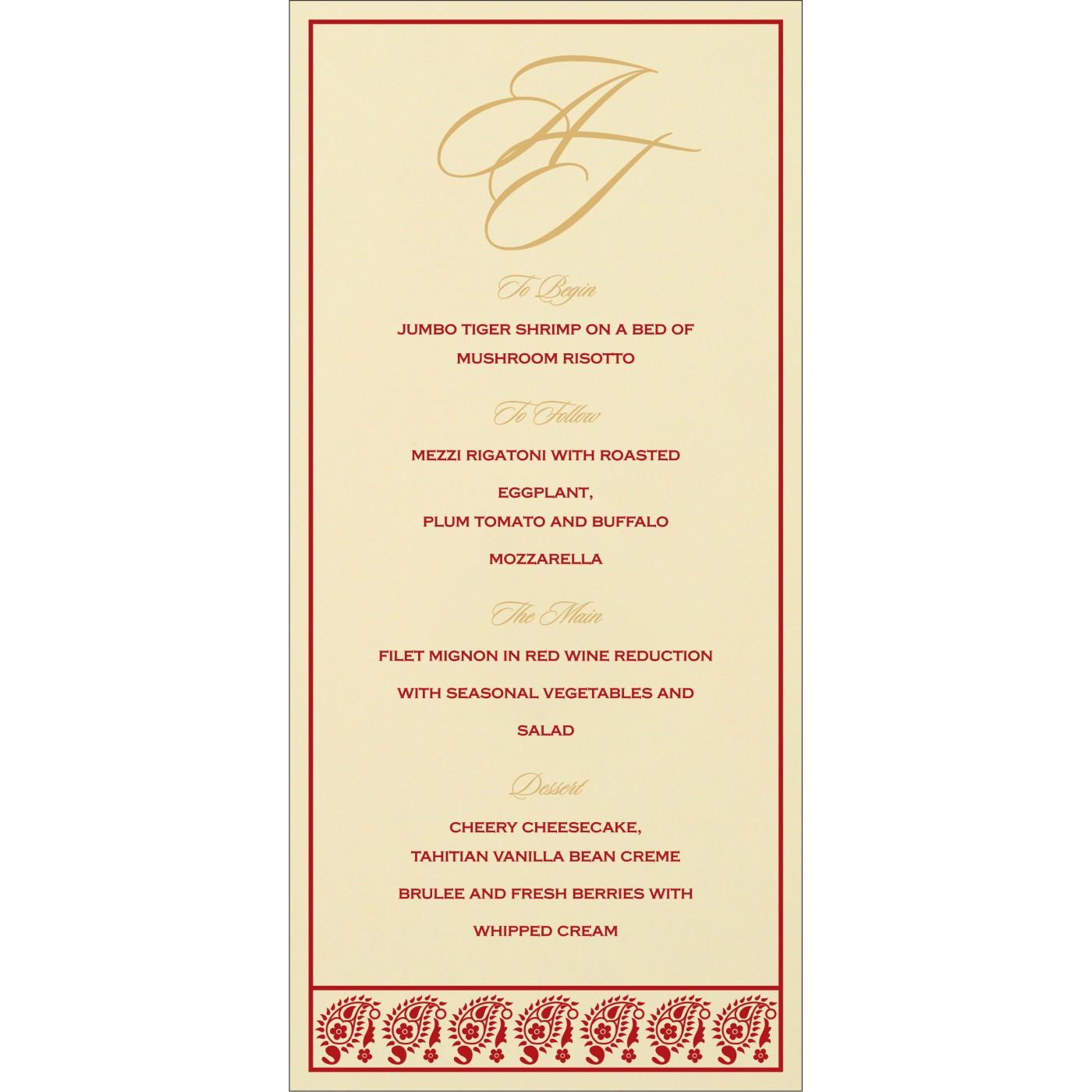 Menu Cards : MENU-8218B - 123WeddingCards