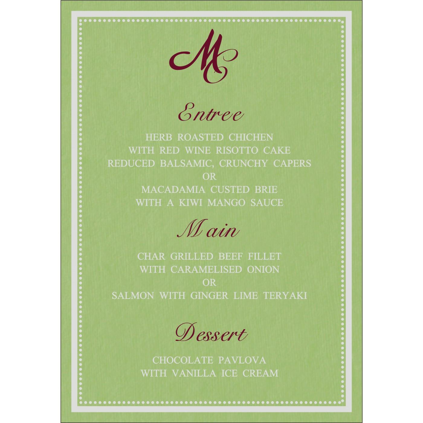 Menu Cards : MENU-8219J - 123WeddingCards