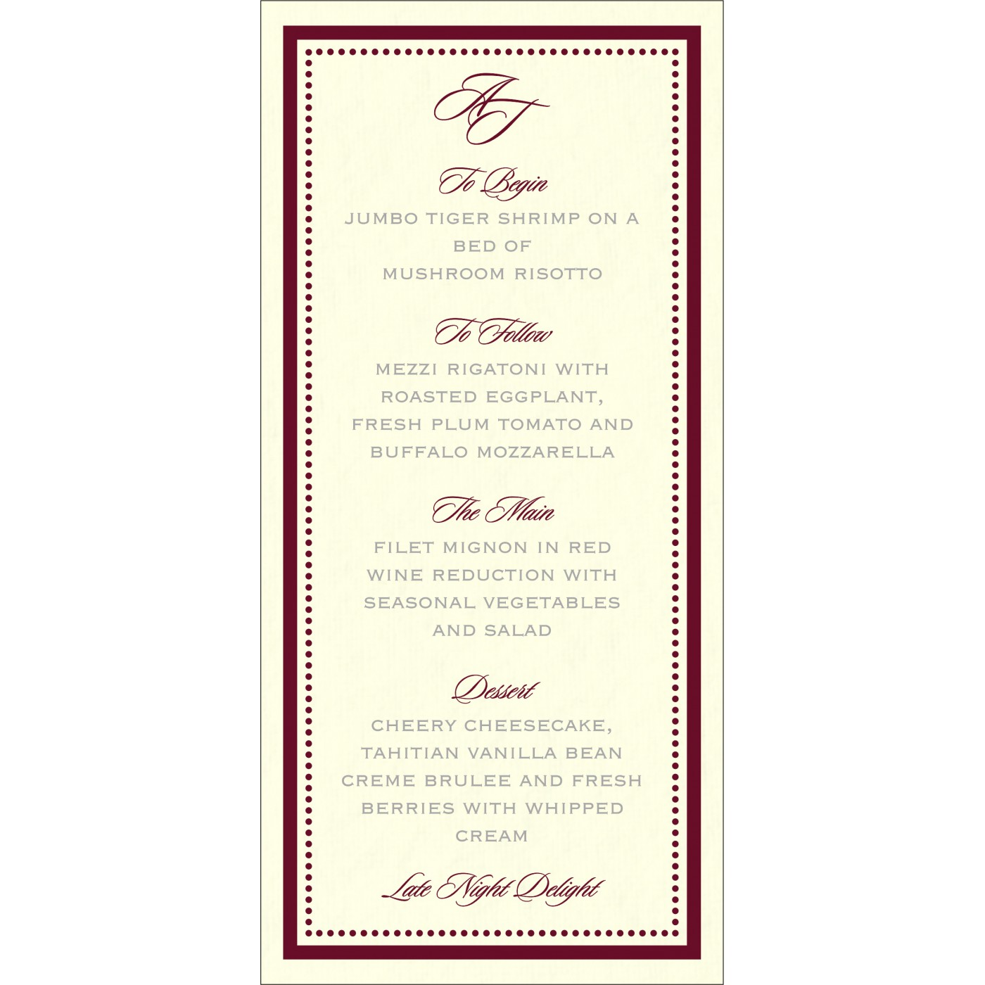 Menu Cards : MENU-8219L - 123WeddingCards