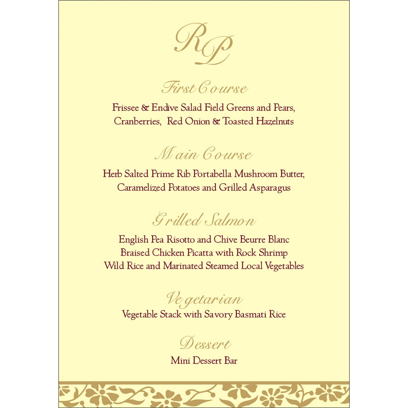 Menu Cards : MENU-8222F - 123WeddingCards