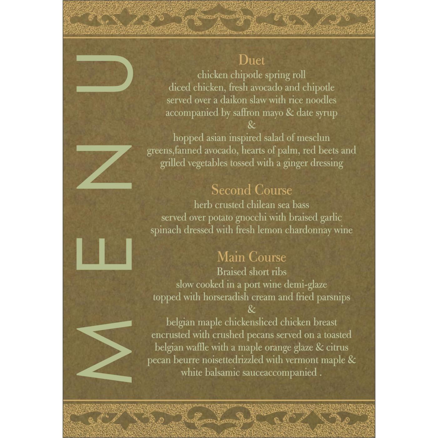 Menu Cards : MENU-8227F - 123WeddingCards