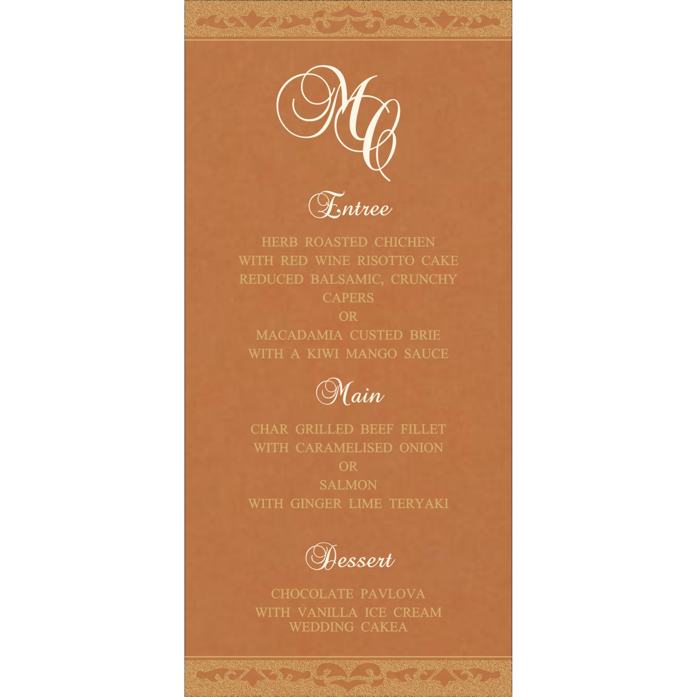 Menu Cards : MENU-8227H - 123WeddingCards