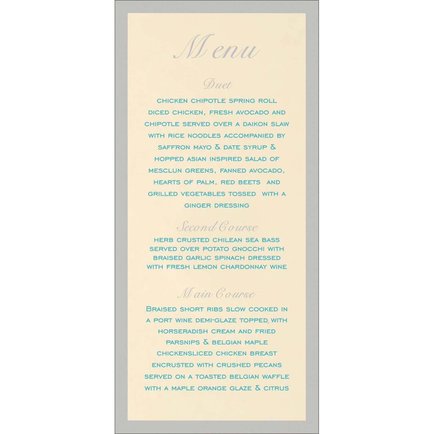 Menu Cards : MENU-8229M - 123WeddingCards