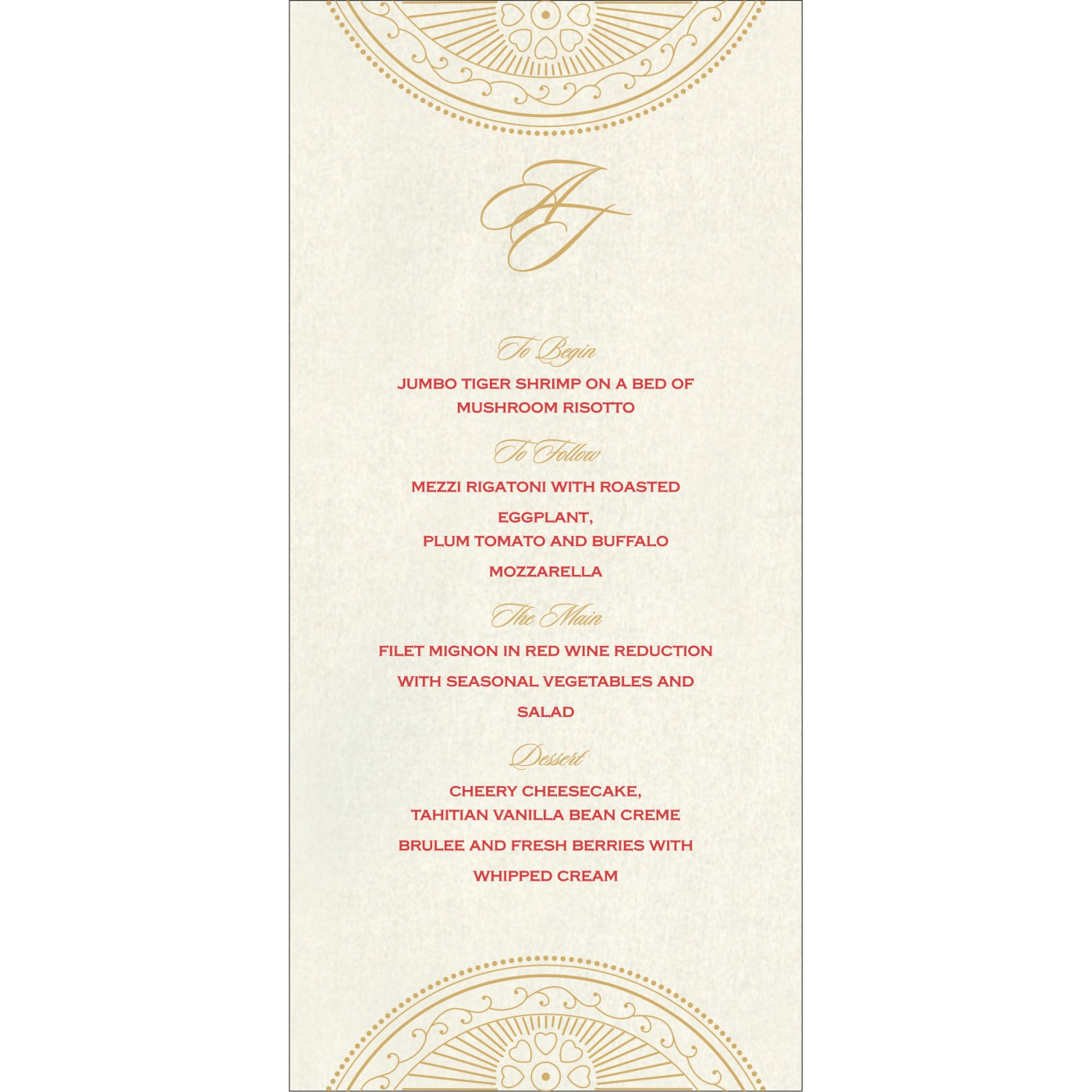Menu Cards : MENU-8230O - 123WeddingCards