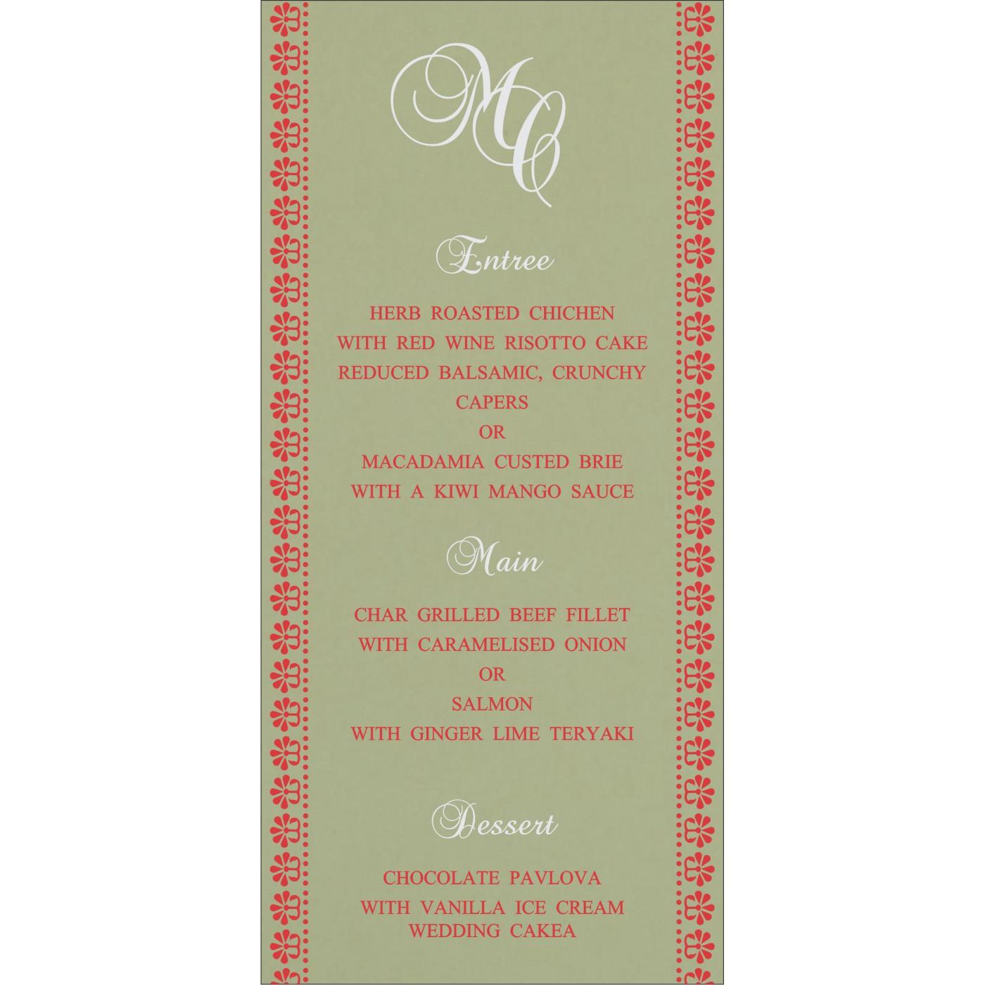 Menu Cards : MENU-8231G - 123WeddingCards