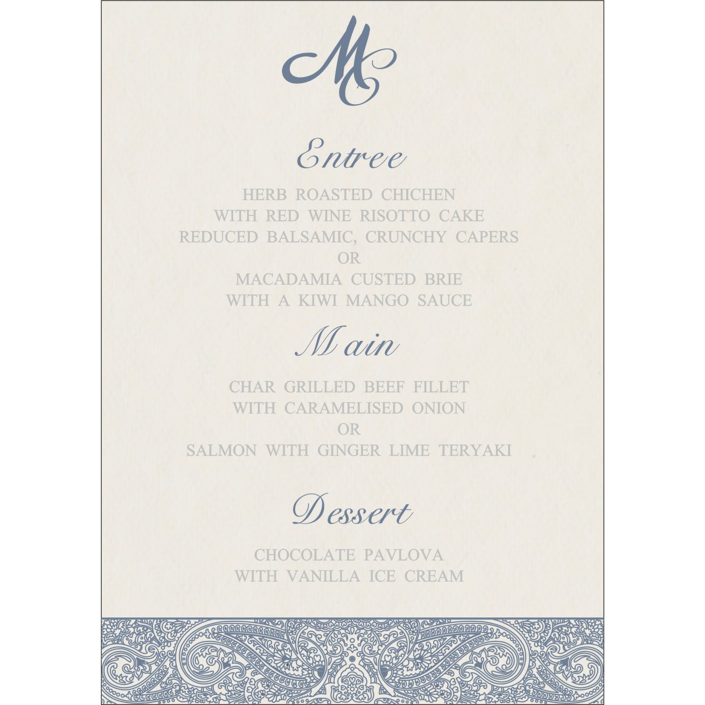Menu Cards : MENU-8234J - 123WeddingCards