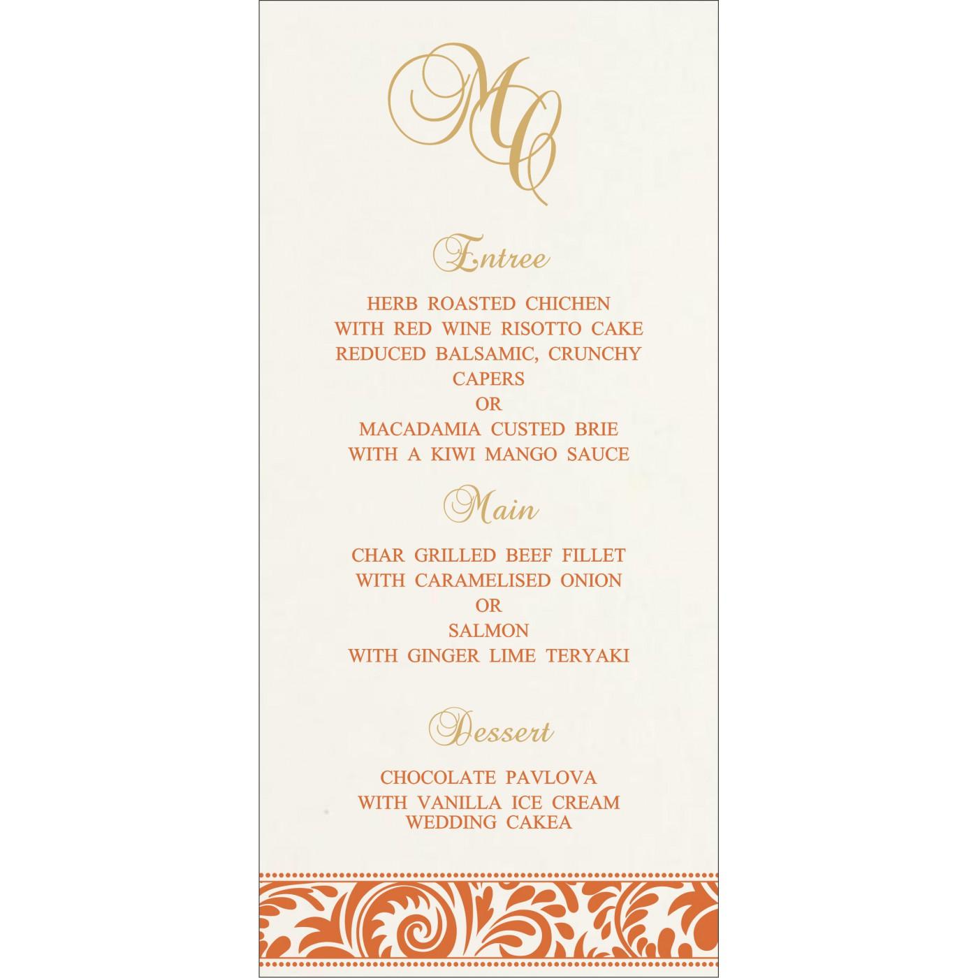 Menu Cards : MENU-8235G - 123WeddingCards