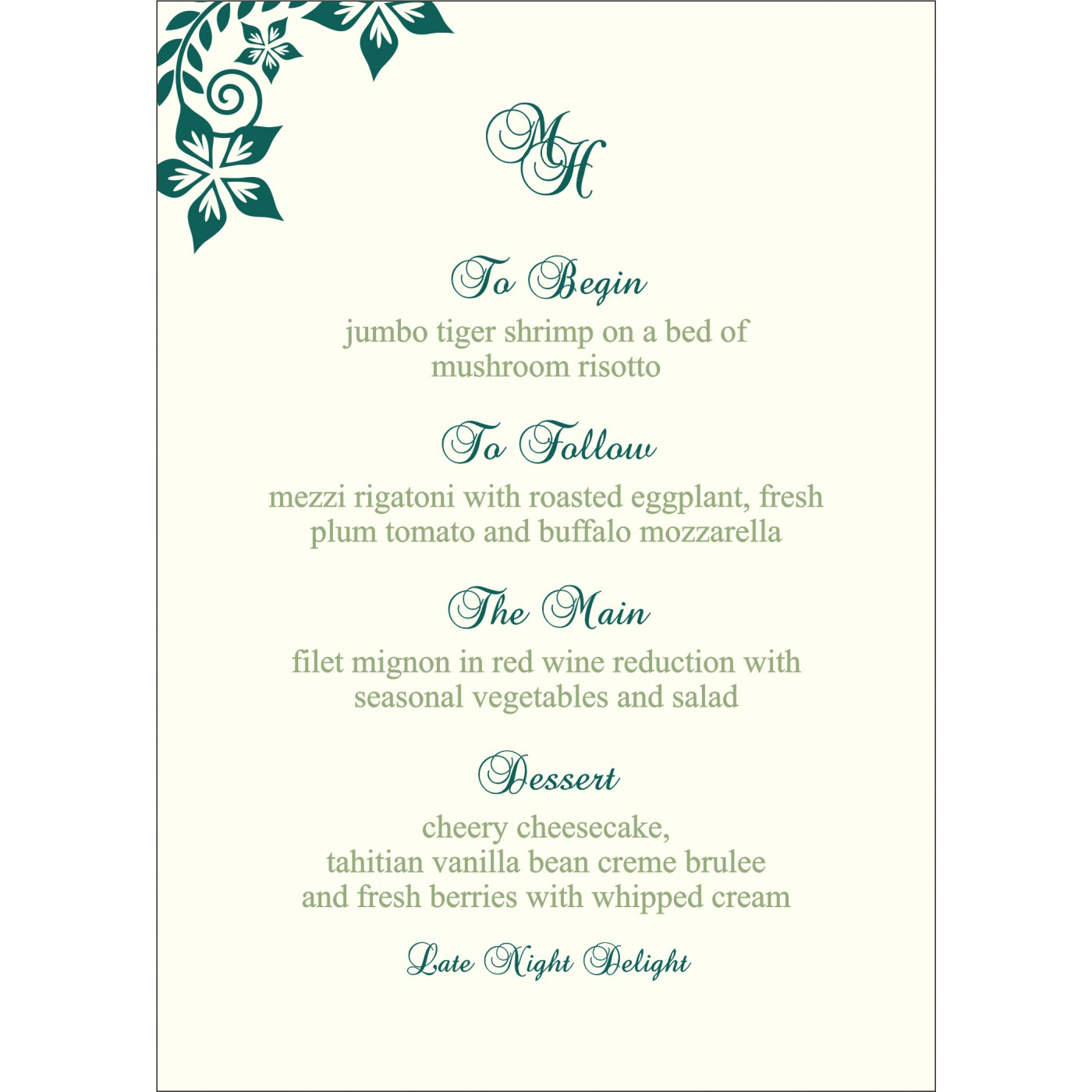 Menu Cards : MENU-8240N - 123WeddingCards