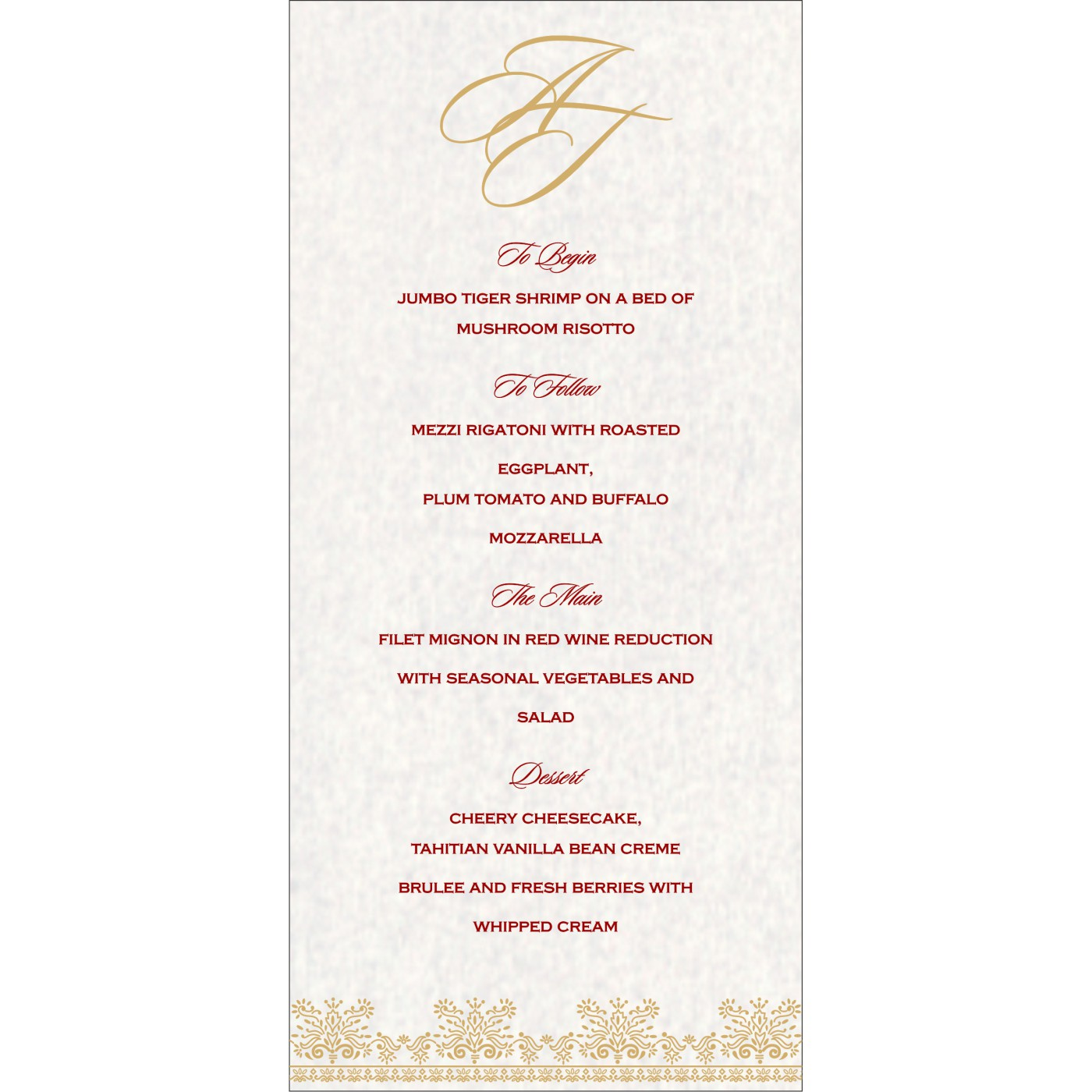 Menu Cards : MENU-8241B - 123WeddingCards