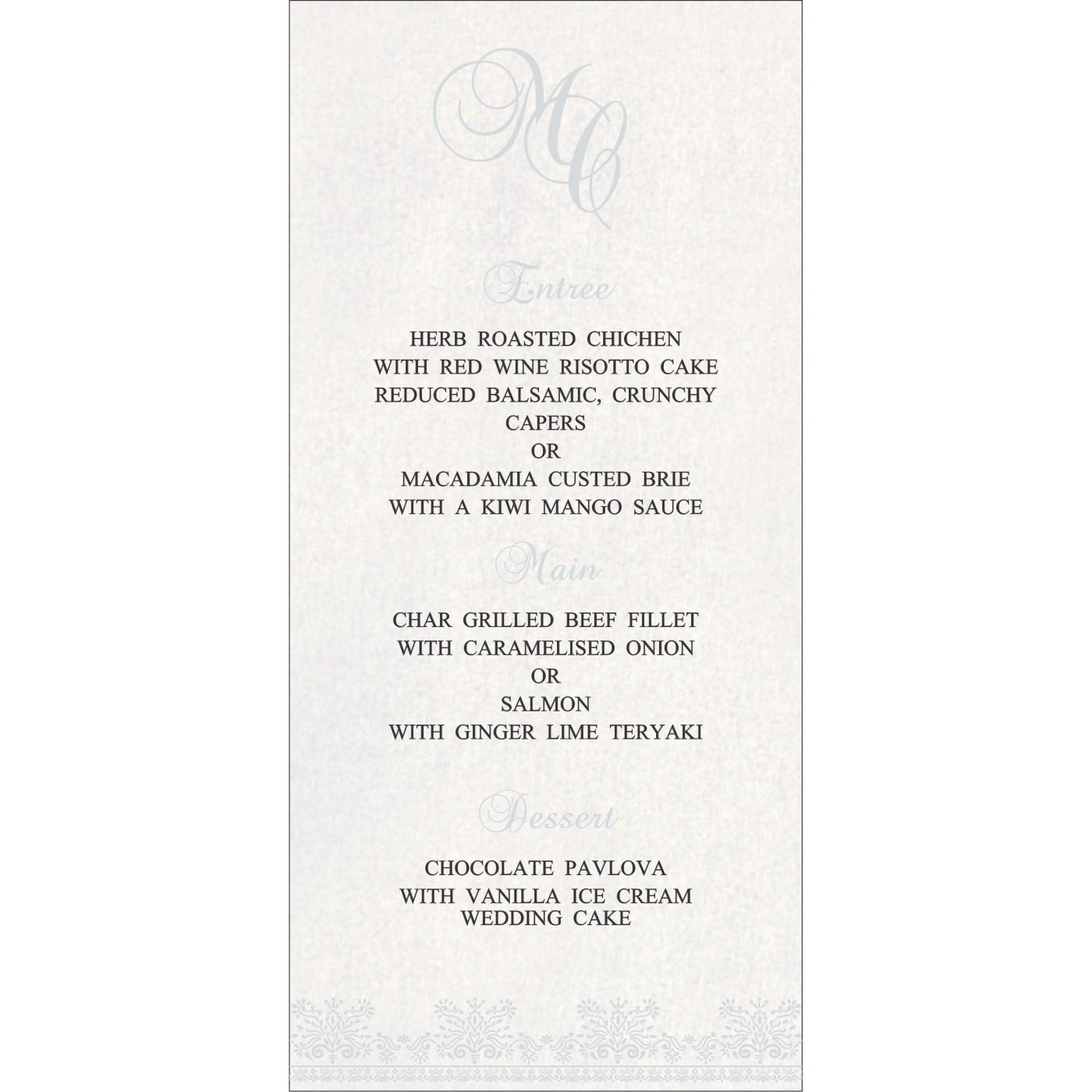 Menu Cards : MENU-8241O - 123WeddingCards